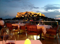 Dinner view of the Acropolis