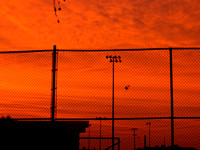 Sunrise over baseball field