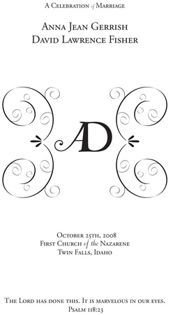 ginny filer photography design work wedding program cover